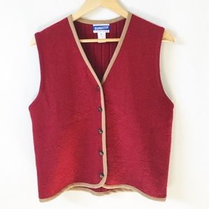 Pendleton : Red wool button up vest